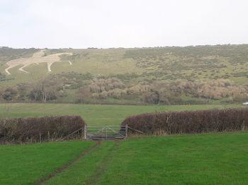 Osmington White Horse Hill before we started on the gorse scrub in November 2018
